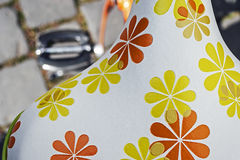 Bicycle saddle with floral pattern Royalty Free Stock Images