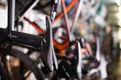 Bicycle saddles in shop Royalty Free Stock Images