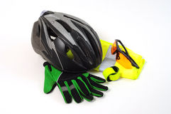 Bicycle Safety Equipment. Protective Safety Equipment for Cyclists on white background Stock Photos