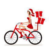 Bicycle Santa Girl Stock Photos