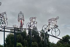 Bicycle sculpture in silhouette on the side of the road. Outside Bolivar, Ecuador royalty free stock photo