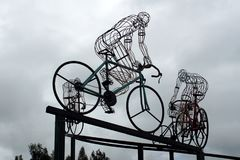 Bicycle sculpture in silhouette on the side of the road. Outside Bolivar, Ecuador royalty free stock photography