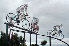 Bicycle sculpture in silhouette on the side of the road. Outside Bolivar, Ecuador royalty free stock photos