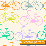 Bicycle seamless background colourful bikes.  royalty free illustration