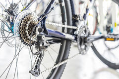 Bicycle. Selective focus of Bicycle gears and rear derailleur Stock Images