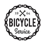 Bicycle Service Badge/Label. Bicycle Badge/Label with wrenches and chain. Bike Service. For signage, prints and stamps Stock Photo