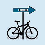 Bicycle service. Vector illustration with sign for bicycle service stock illustration