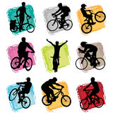 Bicycle set. Vector set of bicycle rider silhouette Stock Photos