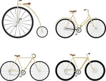 Bicycle set. 4 different style vintage bicycle set Stock Photography