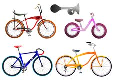 Bicycle set. Collection of vintage and new tinted  bicycles with one horn isolated Stock Photo