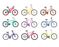 Bicycle Set Design Flat Isolated Royalty Free Stock Photos