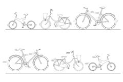 Bicycle Set for family ride, silhouette of bikes isolated on white background, bike for man, woman, boy, girl, vector illustration. Bicycle Set for family ride Royalty Free Stock Photos