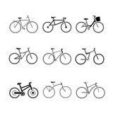 Bicycle set. Set of 9 bicycle icons stock illustration