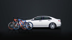 Bicycle set 01. Illustration of couple bicycles and white car on dark background Stock Photo