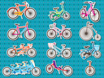 Bicycle Set Sticker. Illustration bicycle set sticker design dotted background. --- This .eps file info Version: Illustrator 8 EPS Document: 12 * 9 Inches (Width royalty free illustration