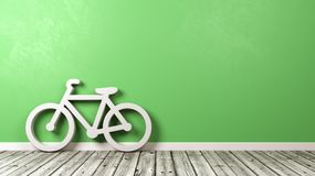 Bicycle Shape on Floor with Copyspace. White Bicycle Shape on Wooden Floor Against Green Wall with Copyspace 3D Illustration stock illustration