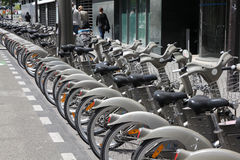 Bicycle sharing station royalty free stock photography