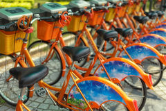Bicycle sharing station in China Royalty Free Stock Photos