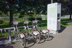 Bicycle sharing system in Moscow Stock Photo