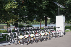 Bicycle sharing system in Moscow Royalty Free Stock Photo