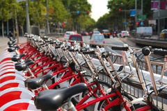 Bicycle sharing system station. Spain Royalty Free Stock Photography