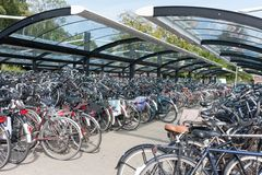 Bicycle shelter in a Dutch city Royalty Free Stock Photo