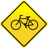 Bicycle sign. Bicycle road sign on the yellow Stock Photo