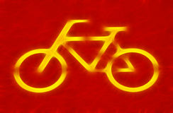 Bicycle sign. On red bicycle lane Stock Photography