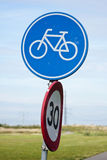 Bicycle sign. Dutch road-sign for a bicycle lane Stock Photo