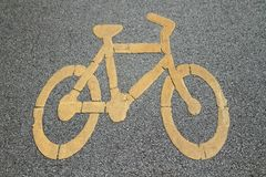 Bicycle sign on bicycle lane Stock Photos