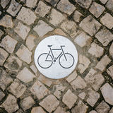 Bicycle sign on bicycle lane Royalty Free Stock Photos