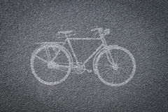 Bicycle sign on bicycle lane Royalty Free Stock Images