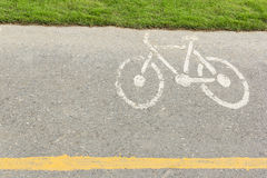 Bicycle sign on bicycle lane Stock Images