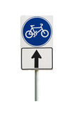 Bicycle sign and bicycle lane on white background Stock Photography