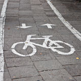 Bicycle sign, bicycle sign painted on road Royalty Free Stock Images