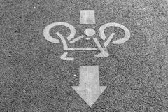 Bicycle sign. Sign of a bike or bicycle lane royalty free stock photo