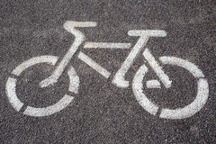 Bicycle sign on bike path. Prohibitory sign bicycle on bike path Royalty Free Stock Photography