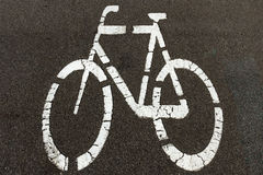 Bicycle sign on the biking street lane. Transportation concept background royalty free stock images