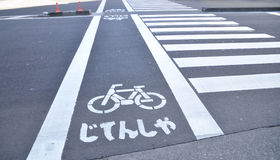 Bicycle sign and crosswalk Royalty Free Stock Images