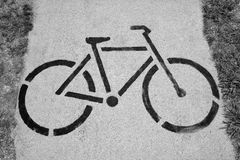 Bicycle sign of cycle trail Royalty Free Stock Image