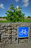 Bicycle sign with Danish flag Stock Images
