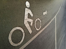 Bicycle sign. Bicycle sign or icon on the road Stock Photography