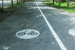 Bicycle sign or icon on the road Stock Image