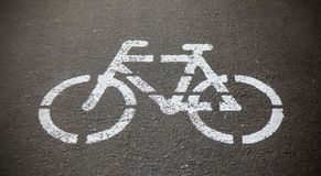 Bicycle sign or icon on the road Royalty Free Stock Photos