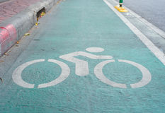 Bicycle sign, Lane for bicycle Stock Photos