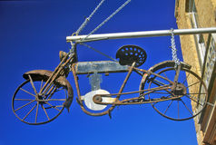 Bicycle sign outside store, Virginia City, MT Stock Image