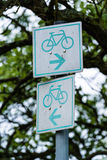 Bicycle sign in the park Stock Photography