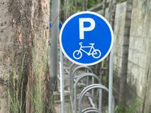 Bicycle sign parking Royalty Free Stock Photo