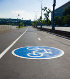 Bicycle sign. On the bicycle path Stock Photography