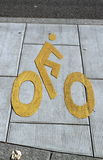 Bicycle sign path on the pavement Stock Images